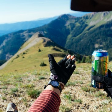 Bean drinks beers at the top of mountains at 8 in the morning. She's the best. (Photo Sarah Zoey Sturm)